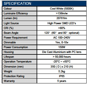 LED High Bay – Premium UFO Series 150W 4